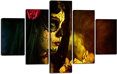 Amazon Com Day Of The Dead Canvas Halloween Painting Sugar Skull Girl Face Wall Art 5 Piece Modern Posters And Prints Big Rose Pictures For Living Room Home Decor Framed Stretched Ready To