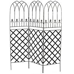 Panacea Gothic Garden Screens with Lattice, Black, Pack of 2