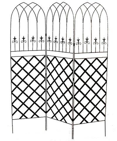 Gothic Garden Screen - BestNest Panacea Gothic Garden Screens with Lattice, Black, Pack of 2