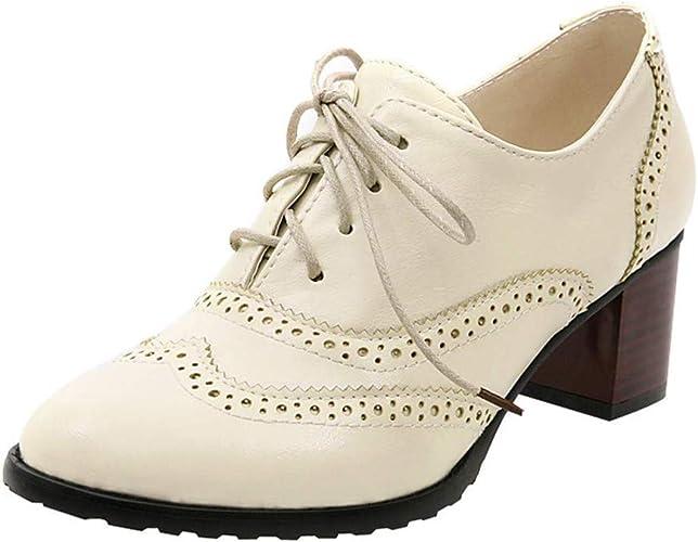 Plateforme Ville Mocassins Noir Derby Femme 6cm Cheville Chaussures Bloc Brogues Cuir Lacets Derbies 34 43 Chaussure Marron Talon Beige De Talons IfvYbgy67