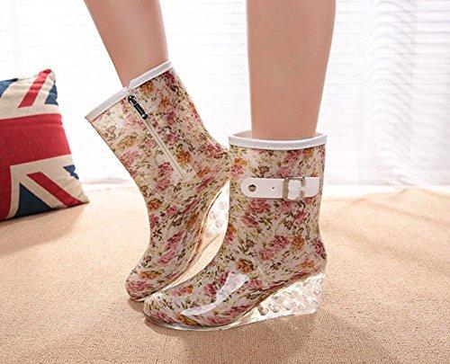 Lluvia Botas Botas Impermeable de Hebilla Agua Transparente Zapatos Wealsex Mujer Antideslizantes Lateral Cuatro Moda con Estaciones Cremallera de Flores Cuñas wUwfqTB0