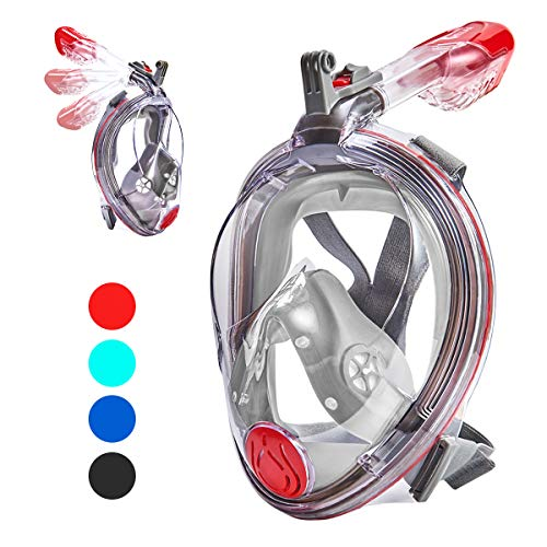 VELLAA Snorkel Mask Full Face for Kids and Adults, Dry Top Set Anti-Fog Anti-Leak 180 Panoramic Large View Free Breath with Detachable Camera Mount, Adjustable Head Straps Foldable Snorkeling Mask ()