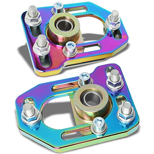 - Aluminum Anodized Neo Chrome Front Adjustable +/-3.0 Camber +/-2.0 Caster Plates Kit Works with 79-89 Ford Mustang