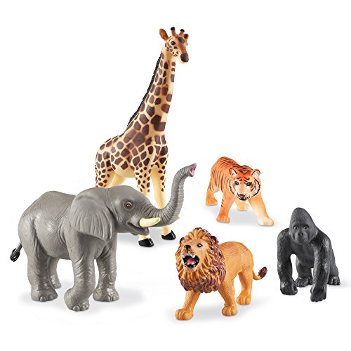 Learning Resources Jumbo Jungle Animals I Lion, Tiger, Gorilla, Elephant, & Giraffe, 5Piece, Ages 2+