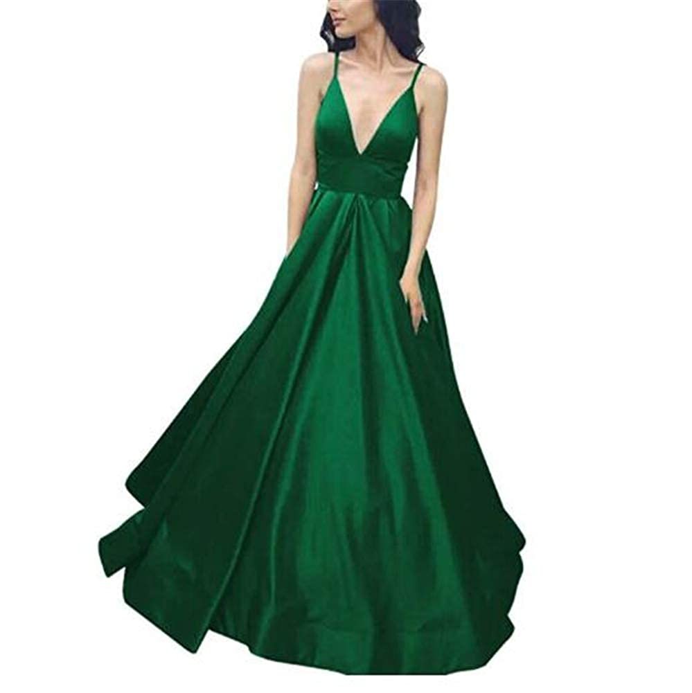 Green Yuki Isabelle Women's Spaghetti Straps Deep V Neck Gorgeous Gown Long Formal Prom Wedding Dresses with Pockets