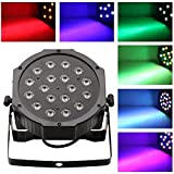 Amzdeal 18W LED RGB Slim Par Light Voiced Light for Stage Lighting Party KTV Disco LED Rotating DJ Stage LCD Display