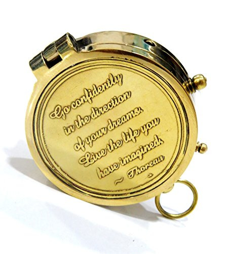 NauticalMart Vintage Thoreau's Go Confidently- Poem Compass Quote Engraved with Stamped Leather case