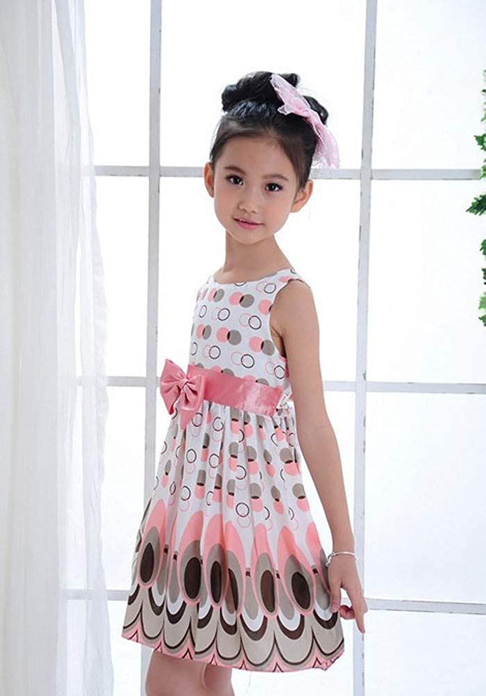 WEUIE Little Girls Bubble Peacock Print Sleeveless Dresses Party Beach Summer Dress with Bowknot