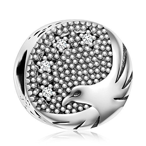 925 Sterling Silver Bird of Freedom American Bald Eagle Charm Bead for European Snake Bracelets ()