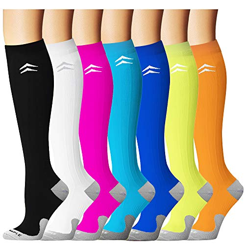 Bluemaple Compression Socks for Women & Men - Best for Running, Athletic Sports, Crossfit, Flight Travel -Maternity Pregnancy, Shin Splints - Below Knee -