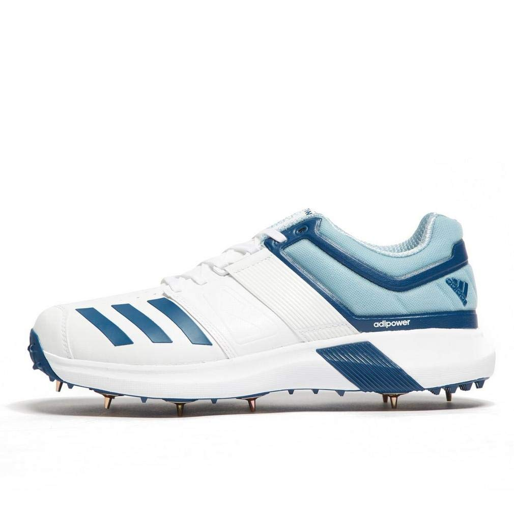adidas Adipower Vector Mens Adult Cricket Trainer Spike Shoe White/Blue - UK 9