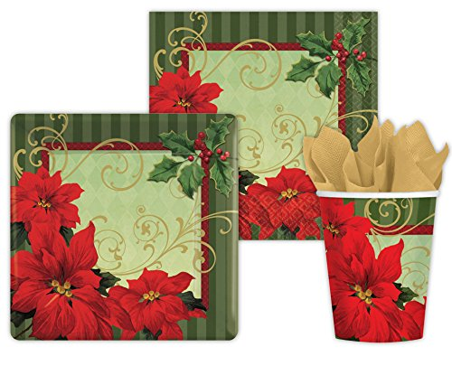 "Holiday Christmas Party Pack ""Vintage Poinsettia"" Seats 18 - Cups, Napkins, Plates & Cutlery - Xmas Party Supplies"