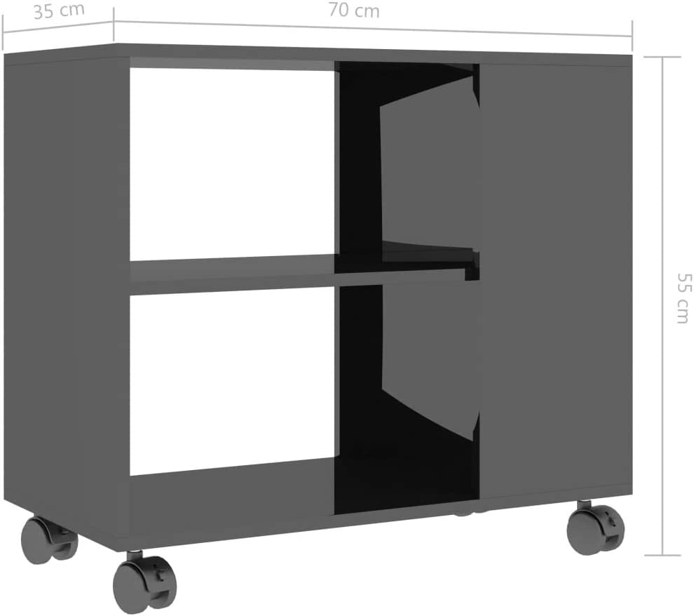 UnfadeMemory Tavolino con 2 Ripiani e 4 Ruote Nero 70x35x55 cm in Truciolato