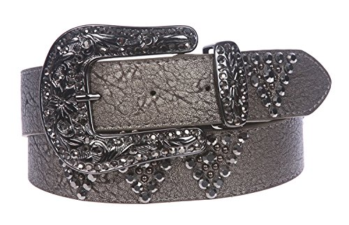 MONIQUE Women Western Cowgirl Rhinestone Studded Leather Snap On 1.5'' Belt,Pewter M/L - 38