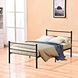 Metal Twin Bed Frame,4HOMART Bed Frames Twin Adults Kids Bed with Headboard and Footboard and 6 Legs Black Platform Bed,No Box Spring