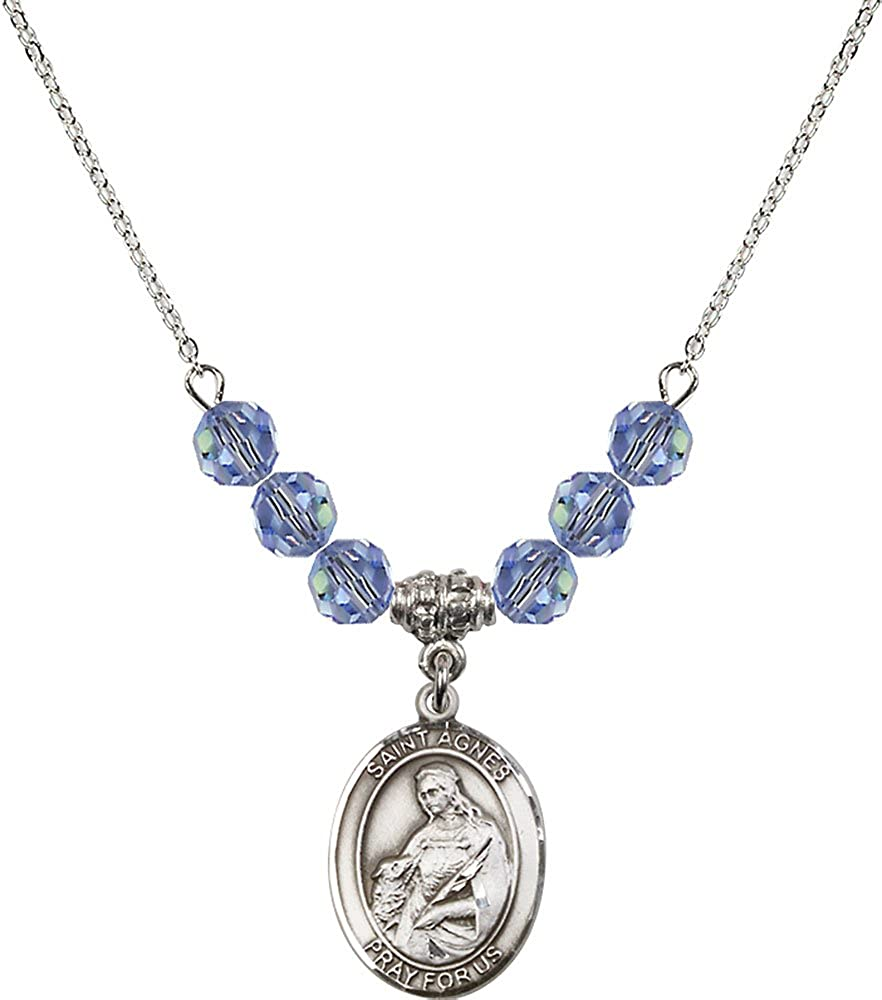 18-Inch Rhodium Plated Necklace with 6mm Light Sapphire Birthstone Beads and Sterling Silver Saint Agnes of Rome Charm.