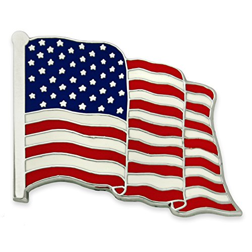 PinMart's Proudly Made in USA American Flag Jewelry Silver Enamel Lapel Pin (American Flag Pin Brooch)
