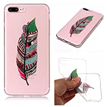 Protective Case for iPhone 8 Plus,iPhone 7 Plus Case Shockproof Rubber,Gostyle Flexible Transparent Soft TPU Slicone Green Feather Pattern Scratch Resistant Ultra Slim Fit Back Cover