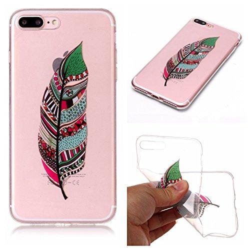 """Hülle iPhone 7 Plus / iPhone 8 Plus , LH Grüne Federn TPU Weich Muschel Tasche Schutzhülle Silikon Handyhülle Schale Cover Case Gehäuse für Apple iPhone 7 Plus / iPhone 8 Plus 5.5"""""""