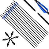 Narchery (12 Pcs) Carbon Fiber Hunting Arrows for Recurve Bow, Practice Target Arrows with Removable Tips