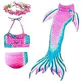 Anbaby Girls 3 Pcs Princess Mermaid Tail Swimwear Swimsuit Bikini Set Pink Green 140CM