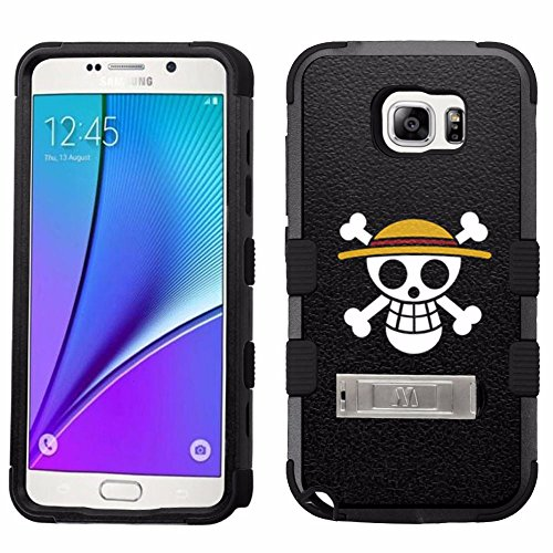 - for Samsung Galaxy Note 5, Hard+Rubber Dual Layer Hybrid Heavy-Duty Rugged Armor Cover Case - Onepiece Skull Hat #S