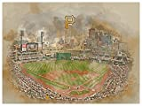 Atlas Pittsburgh Pirates Poster Watercolor Art Print 12x16 Wall Decor