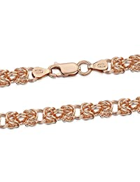 """14K Rose Gold Plated on 925 Sterling Silver 4.7 mm Byzantine Chain Necklace 18"""" 24"""" in"""