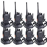 Walkie Talkies for Adults Rechargeable Wireless Walkie Talkies Long Range Two Way Radios with Earpiece Built-In LED Flashlight Li-ion Battery and Charger included(Pack of 8)