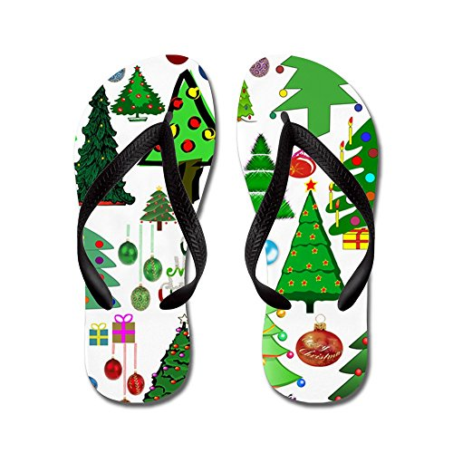 CafePress Oh Christmas Tree - Flip Flops, Funny Thong Sandals, Beach Sandals Black