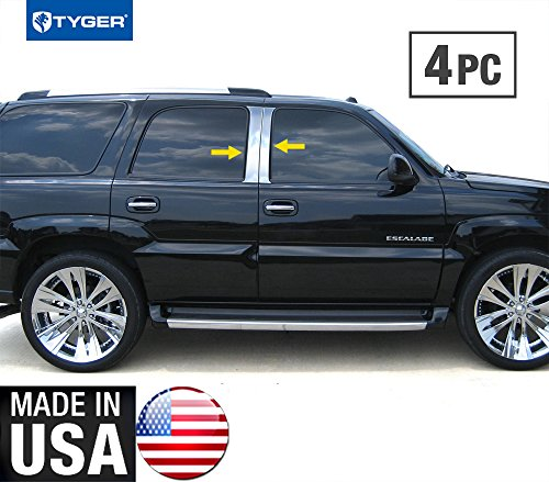 Escalade Pillar (Made in USA! Fit 2002-2006 Cadillac Escalade Stainless Steel Door Pillar Posts Chrome Cover Window)