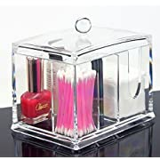 Amazon Lightning Deal 86% claimed: Clear Acrylic Organizer, Storage Box for Cotton Swabs, Q-Tips, Make Up Pads, Cosmetics & More - For Bathroom & Vanity By AcryliCase