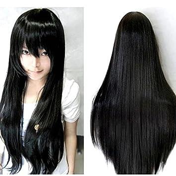HuaYang señoras Sexy recta larga peluca Cosplay Pelucas de vestuario (negro)