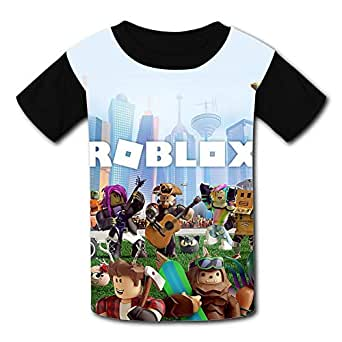 QIANBAIHUI Kids Youth R-ob-lox-World 3D Printed Crew Neck T-Shirt Tees XS Black