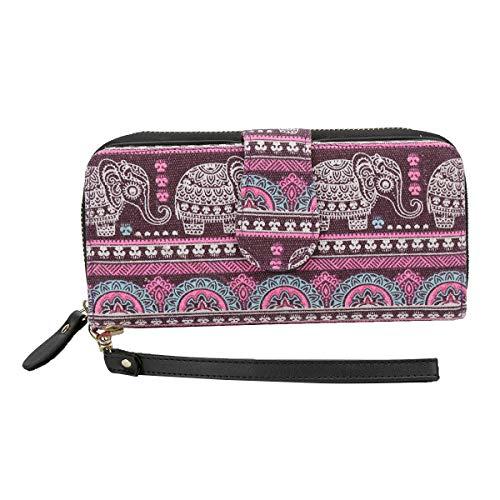 Women Wallet Zip Around Bohemian Purse Canvas Wallet Elephant PatternLong Clutch Phone Card Handbag with Strap Coin Pocket -