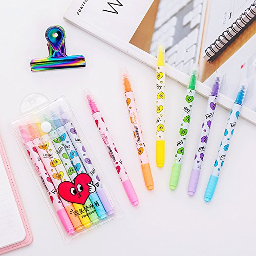 6 pcs/pack Full Love Double Colored Side Colorful Highlighter Fluorescent Pen Markers Promotional Markers Gift Stationery (Promotional Highlighter)
