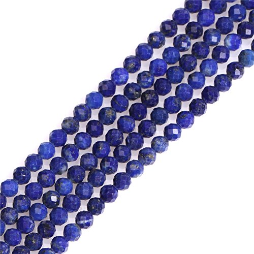 Blue Lapis Lazuli Beads for Jewelry Making Natural Gemstone Semi Precious 3mm Round Faceted Spacer 15