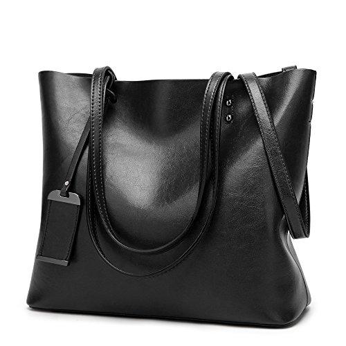 ChilMo Leather Tote Bag Top Handle Satchel Handbags Shoulder Bag Messenger Purse for Women,Black by ChilMo