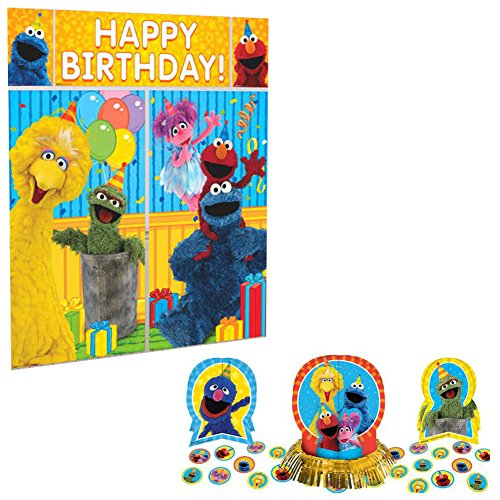 Sesame Street Birthday Party Decoration Supplies Pack Including Table Decorating Kit and Scene Setter Decorating (Elmo Happy Birthday Banner)