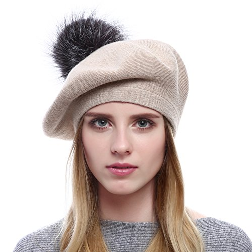 Womens Winter Warm Berets Wool Beanies Knitted Cashmere Hats With Fox Fur PomPom (Beige)