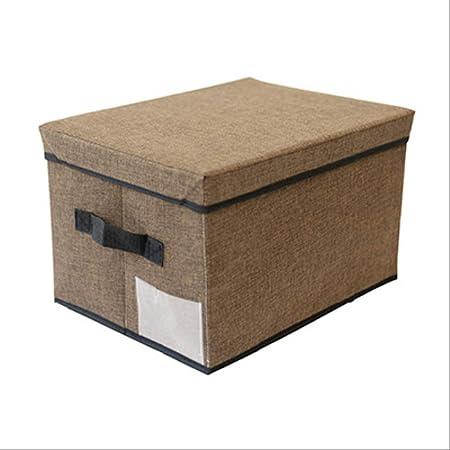 Caja de Almacenamiento de Ropa de Lino, Cajas de Almacenamiento de artículos Lavables, Organizador Ropa Interior Plegable,Organizador casa a Prueba Polvo de Alta Capacidad L 50x40x30cm Marrón: Amazon.es: Hogar
