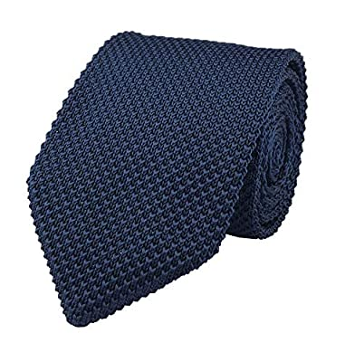 "Solid Color Skinny Knit Tie for Men Vintage Casual Smart Formal Cotton Necktie 2"""