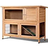Tangkula Rabbit Hutch Outdoor Garden Backyard Wood Hen House Wooden Chicken Coop Rabbit Hutch Poultry House Small Animal Cage (52