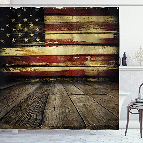 Ambesonne United States Shower Curtain, Vintage American Flag on Wooden Planks Wall Background Grunge Print, Cloth Fabric Bathroom Decor Set with Hooks, 70