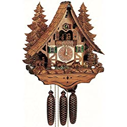 Schneider 18 Chalet Cukoo Clock with Moving Bears, Woodchucks and Water Wheel