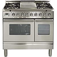 Ilve UPDW90FDMPI Pro Series 36 Dual Fuel Double Oven Range Griddle, Convection Oven, Warming Drawer Stainless Steel