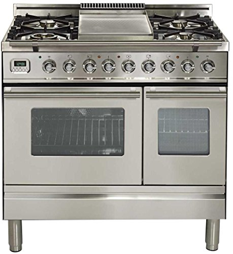 Ilve UPDW90FDMPI Pro Series 36 inch. Dual Fuel Double Oven Range Griddle Convection Storage Drawer Stainless Steel