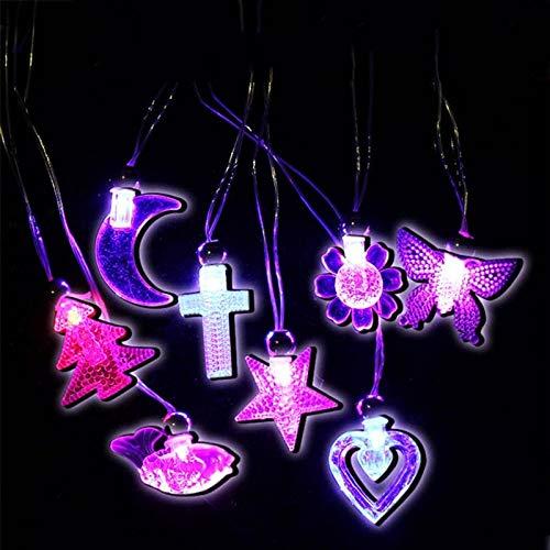 1 lot 50pc Children Kids LED Moon Star Light Up Flashing Blinking Crystal Necklace Pendants Party Birthday Gift Wedding Christmas
