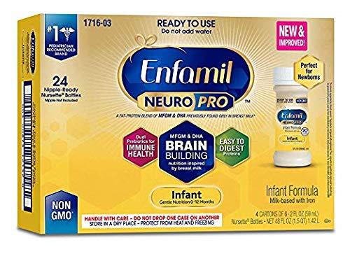 Enfamil NeuroPro Infant Formula, 20 Calorie/fl oz Nursettes, 0-12 Months (Pack of 8 (48 CT))