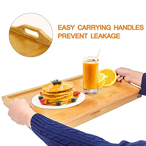 Cozihoma Breakfast Tray Bamboo Bed Tray Table with Foldable Legs Portable Laptop Tray Snack Tray for Food Serving Bed Reading TV Watching with Carrying Handles